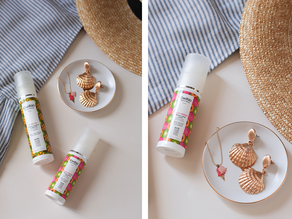 kiwiibio-organic-beauty-eclat-parfait-serum-exquise-creme-soin-routine-ete-titlee-collier-glace-boucle-oreille-coquillage
