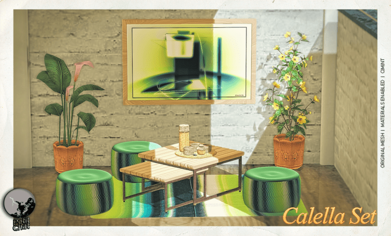 Calella Set Poster showing short table, seats, rug, frame and hot chocolate set.