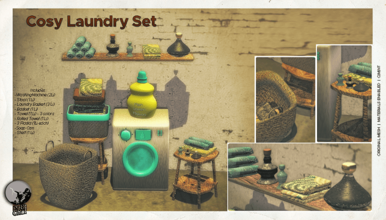 Cosy Laundry set poster showing all items (washing machine, stool, flasks, shelf, baskets, soap bottle, towells)