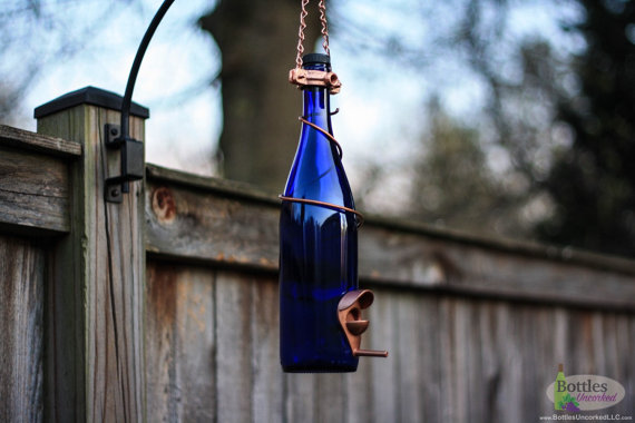 Wine Bottle Bird Feeder by Bottles Uncorked   Mother's Day GIft Guide