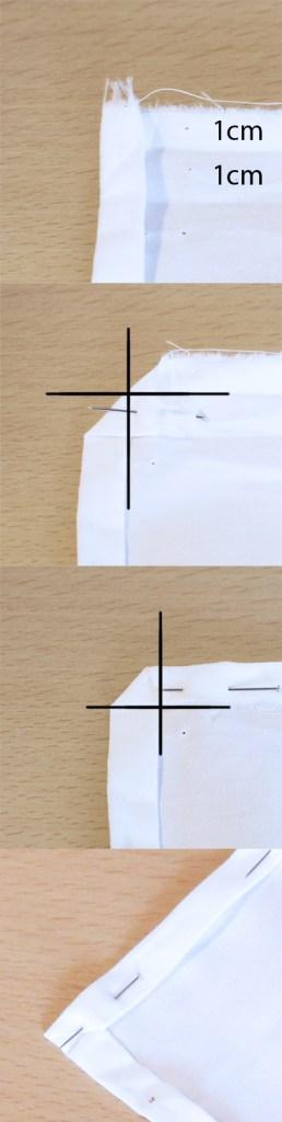 Etapes pour faire un ourlet dans un angle