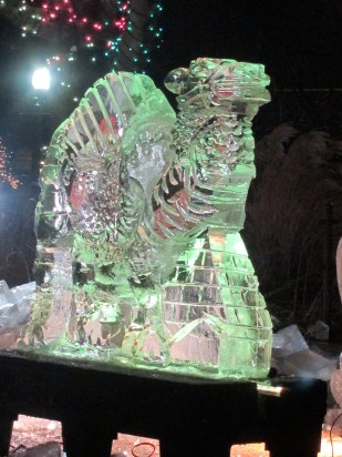 The result of a live demonstration of ice sculpting. The sculptors actually iron each piece to melt the ice a bit. When it freezes, the sculpture shines.