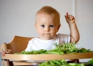 Bébé pendant son repas entouré de légumes verts
