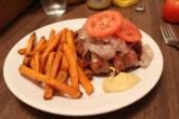 bacon wrapped burger w/ sweet potato fries