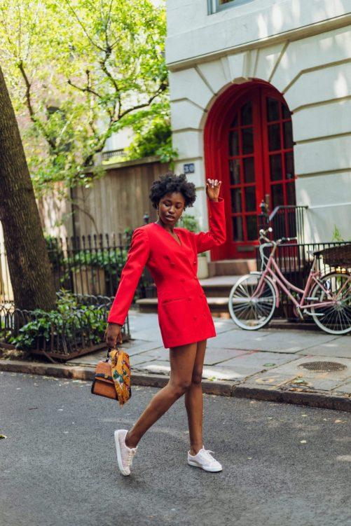 Pose in Red Blazer Dress