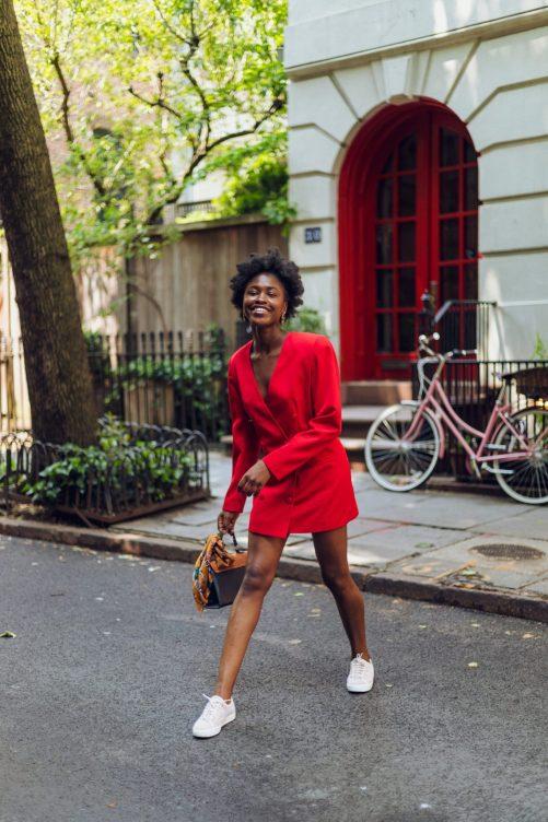 Black Girl Joy in Red Blazer dress