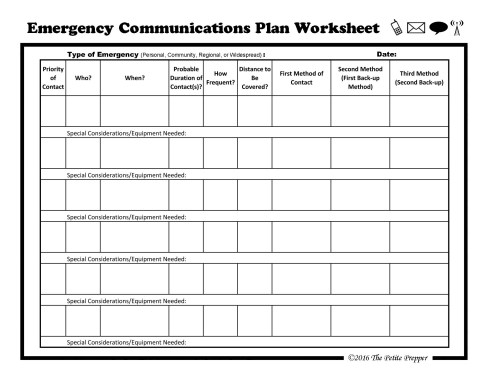 Emergency Communication Plan Worksheet
