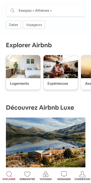 capture écran application de voyage airbnb