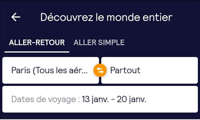 capture écran application billet avion