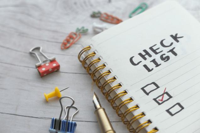 carnet de note check-list