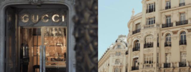 Boutique de luxe, façade d'un immeuble