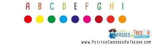 Chasse au trésor coder alphabet avec couleurs