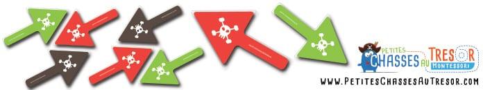 Image de flèche en couleur pour une chasse au trésor