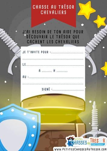 carte d'invitation jeu de piste pour garçon sur les chevaliers