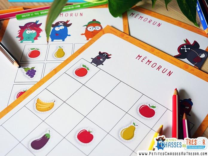 jeu éducatif de mémoire pour les maternelles