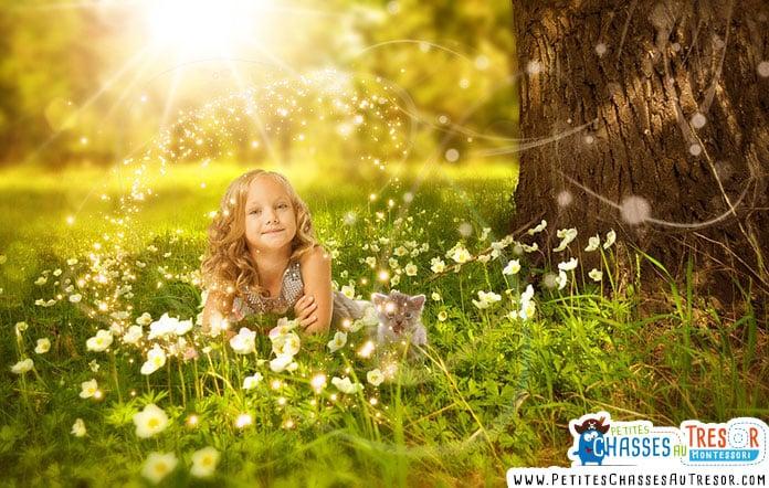 Un petite fille se détend dans la nature