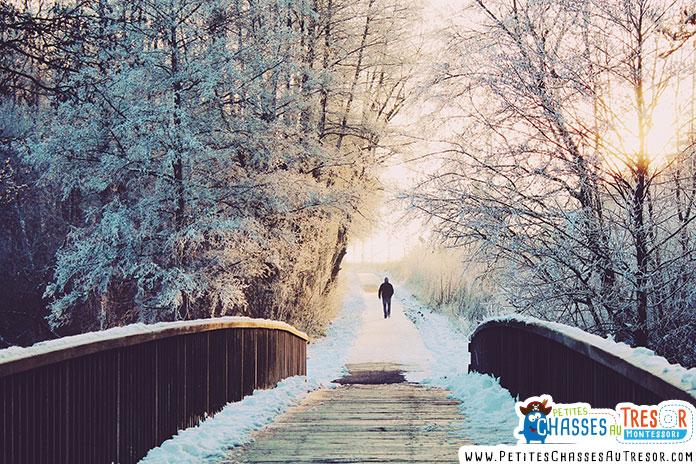 chemin pour se promener en hiver