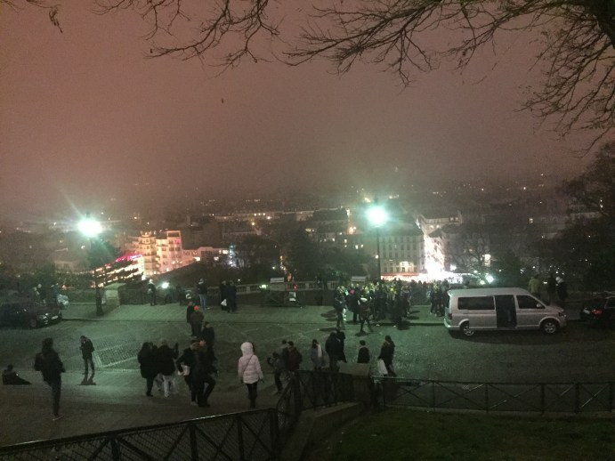 A normally-stunning view of the City of Light, the fog chocked the hill and Montmarte.