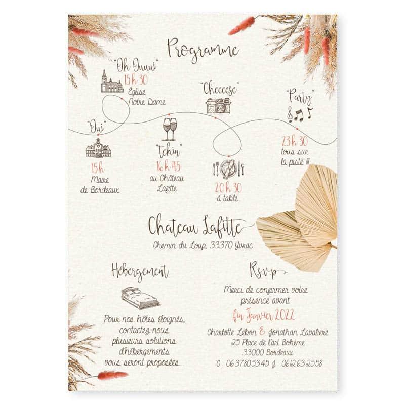 faire part mariage fleurs sechees nude terracotta