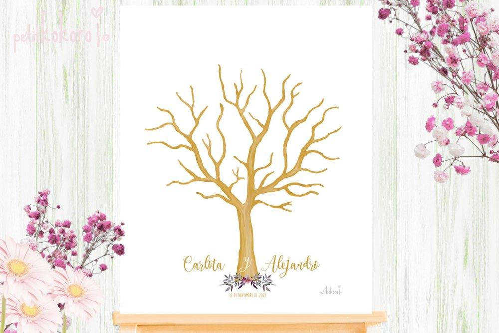 Árbol-Huellas-Boda-modelo-Orla-Floral-Acuarela-Petitkokoro