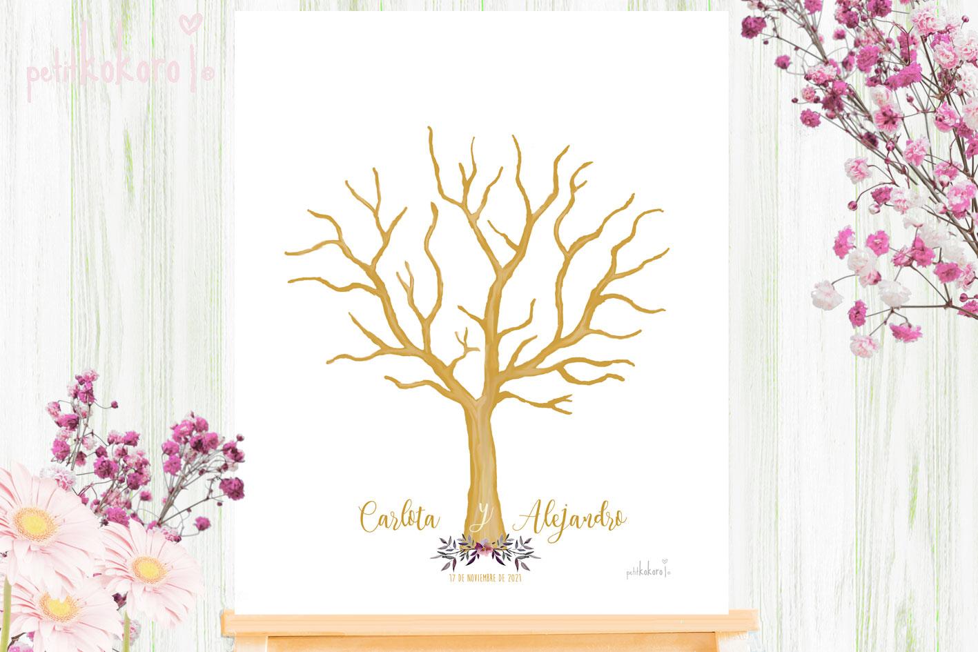 Árbol Huellas Boda modelo Orla Floral Acuarela Petitkokoro