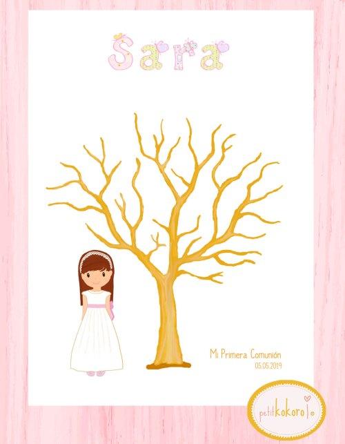 árbol huellas comunión niña lámina