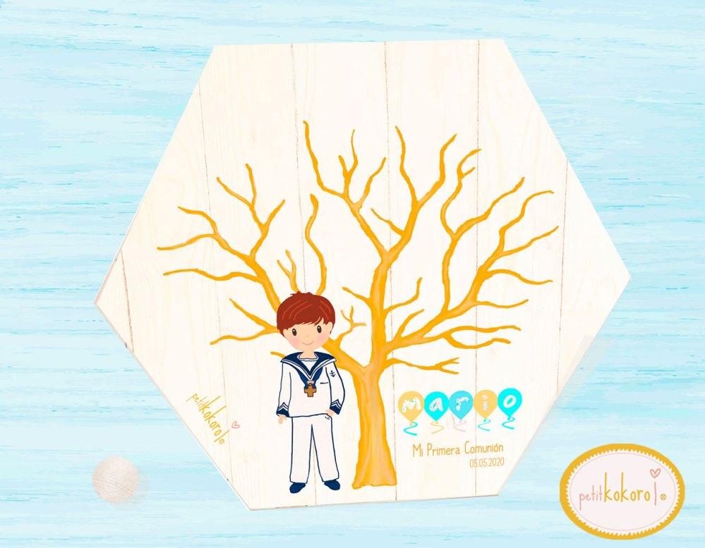 árbol huellas comunión niño Petitkokoro