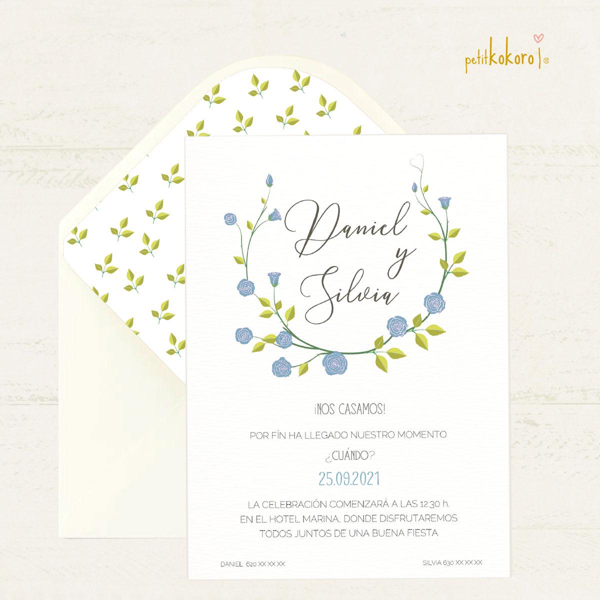 Invitación boda modelo Flower blue Petitkokoro