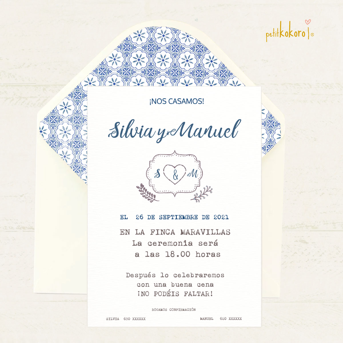 Invitación boda modelo Heart spikes Petitkokoro