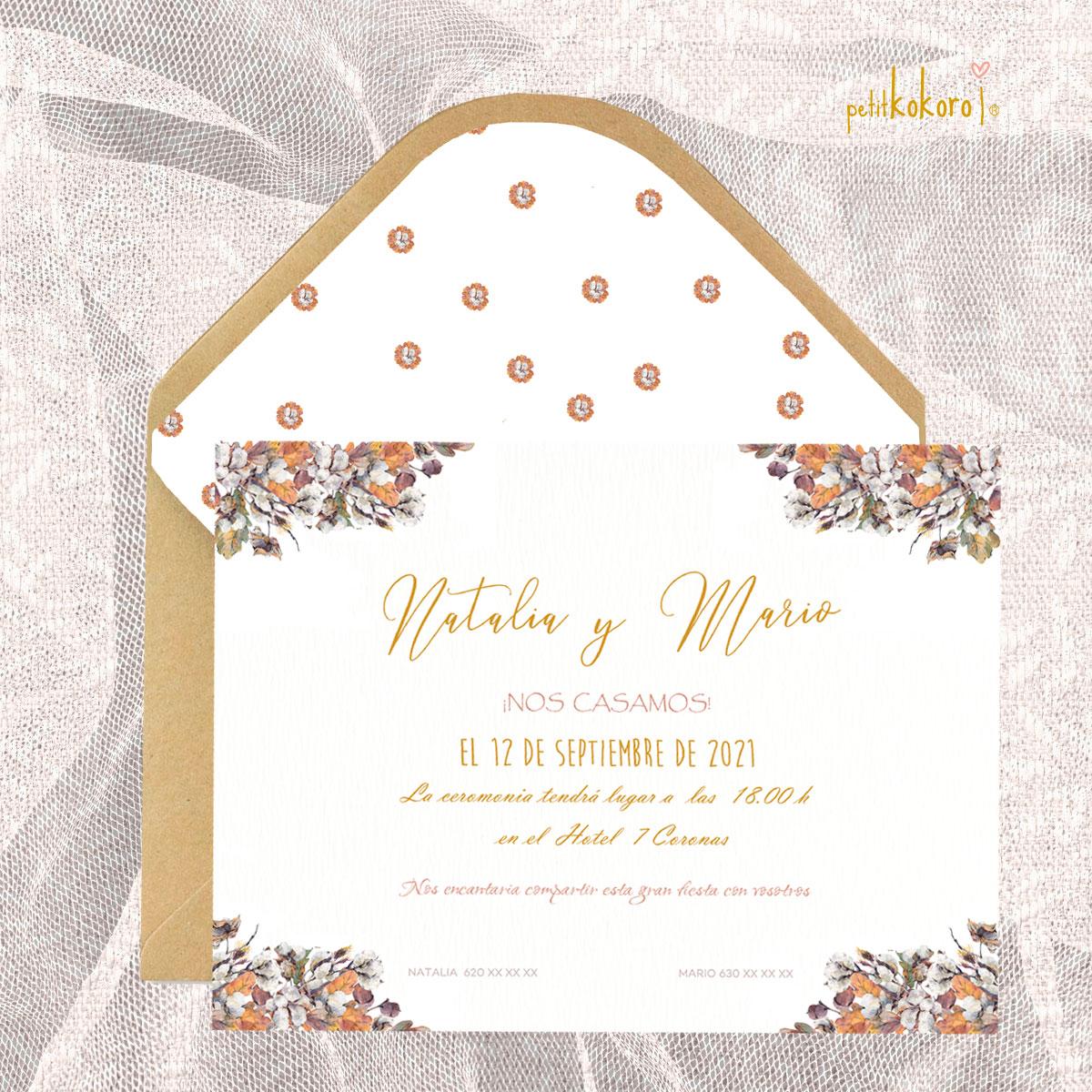 Invitación boda modelo Bellota Petitkokoro