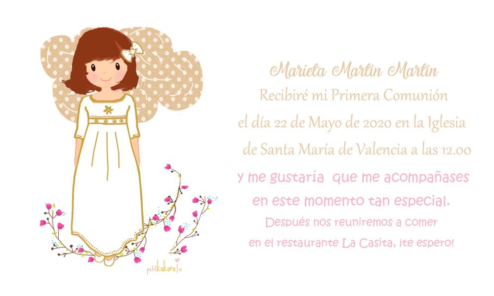 Invitaciones de comunión niña modelo Marieta