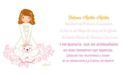 Invitaciones de comunión niña modelo Paloma