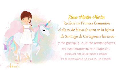 Invitaciones de comunión modelo unicornio