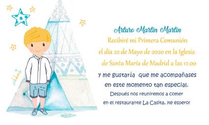 Invitaciones de comunión modelo Arturo