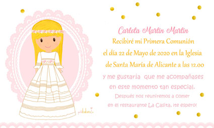 Invitaciones de comunión niña modelo Carlota blonda