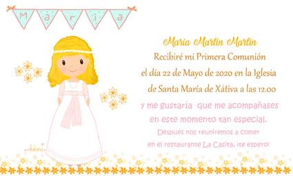 Invitaciones de comunión niña modelo María