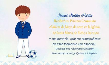 Invitaciones de comunión modelo fútbol