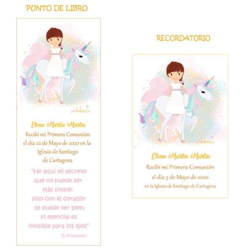 Punto-de-libro-y-recordatorio-niña-comunión-modelo-unicornio-Petitkokoro