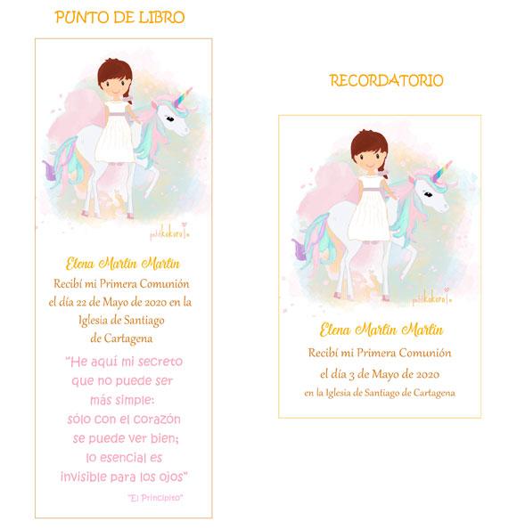 Punto de libro y Recordatorio comunión niña modelo Alba unicornio