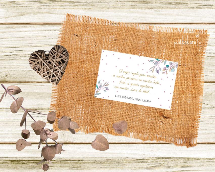 Tarjeta número cuenta boda modelo Heart Band Petitkokoro