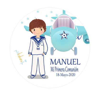 chapas comunión niño modelo Manuel avioneta Petitkokoro