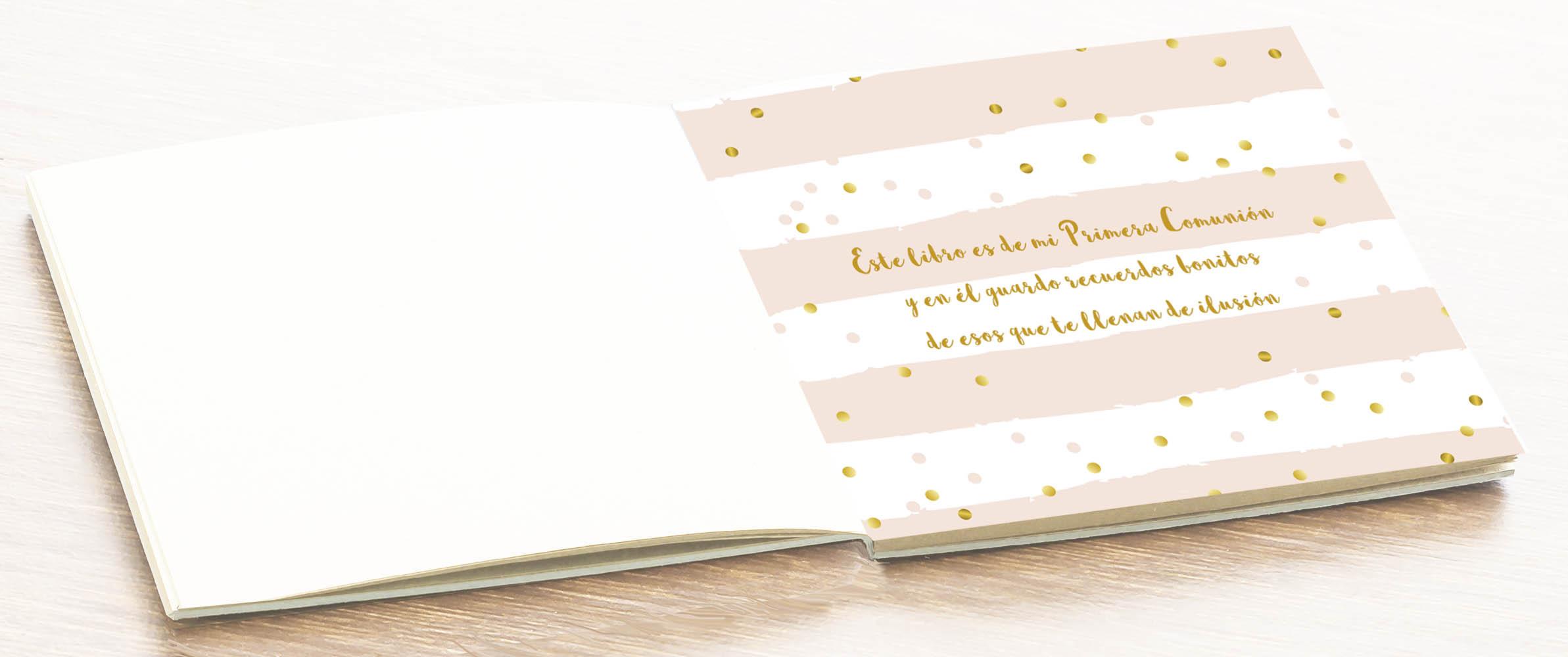 Libro de firmas álbum comunión niña Petitkokoro vista hojas interiores