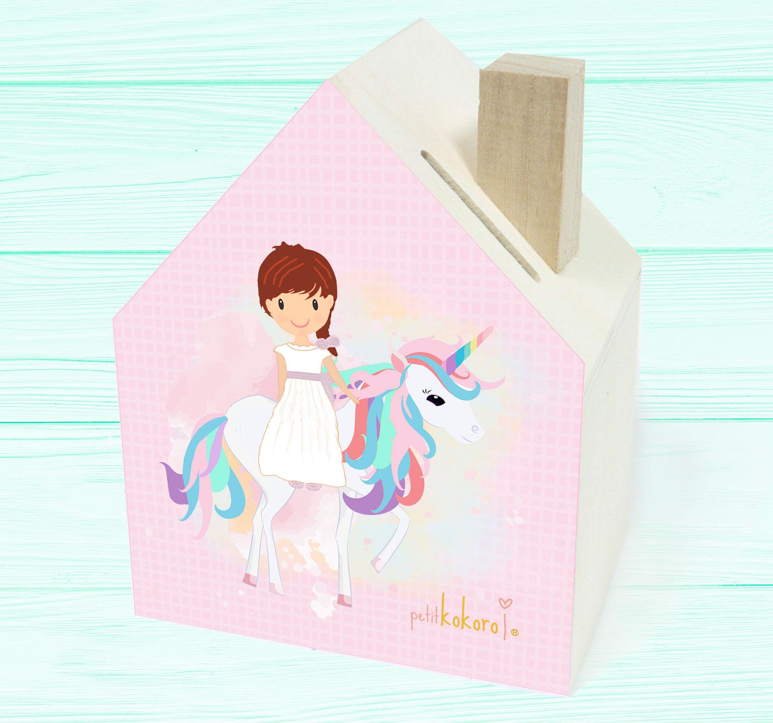 hucha comunión madera niña modelo unicornio