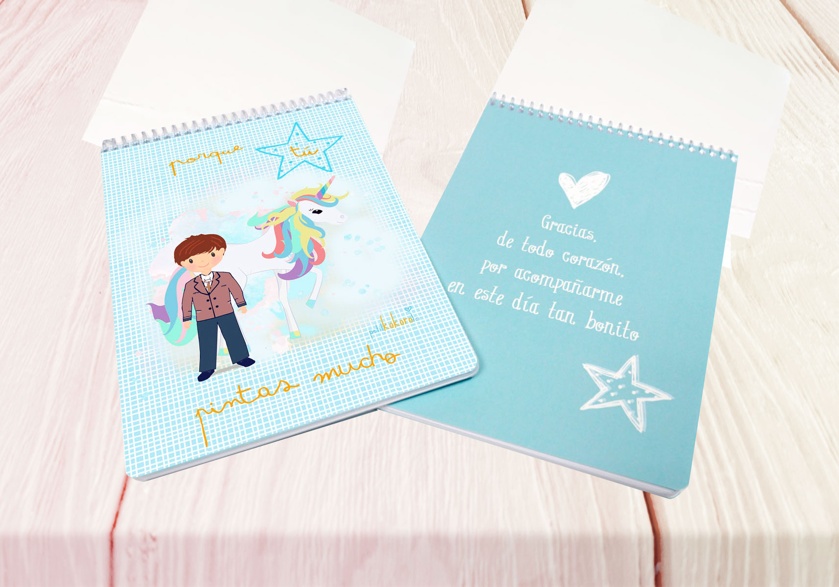 Libreta dibujo comunión niño modelo unicornio
