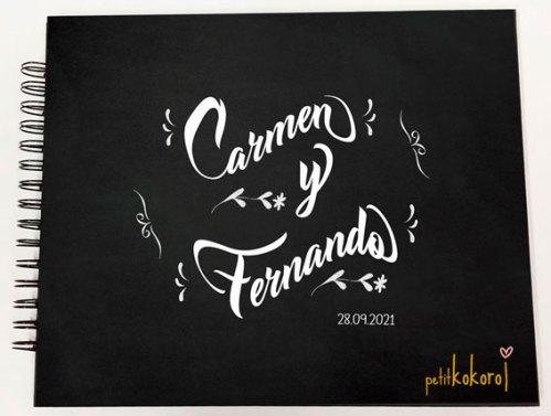 álbum de firmas y fotos de boda modelo Carmen Petitkokoro