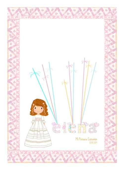 marco de huellas para comunión niña petit kokoro