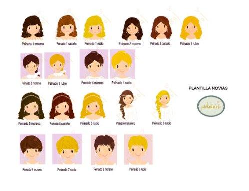 plantilla personalización peinados novia petitkokoro