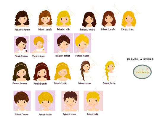 plantilla peinados novia personalización álbum firmas y fotos boda Petitkokoro