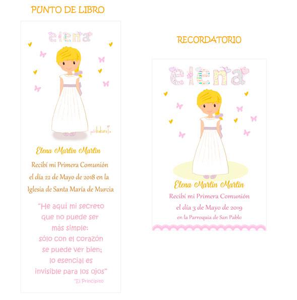 Punto de libro y Recordatorio comunión niña modelo Elena