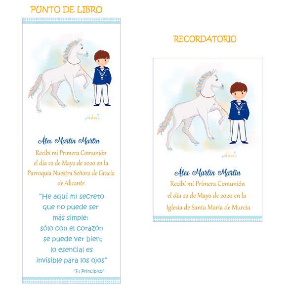 Punto de libro y Recordatorio comunión niño modelo Álex
